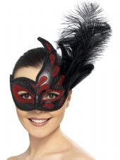 Ornate Colombina Eye Mask In Red And Black